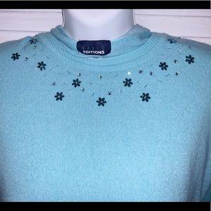 Size S Modest Xmas Sweater w/Rhinestone accents.